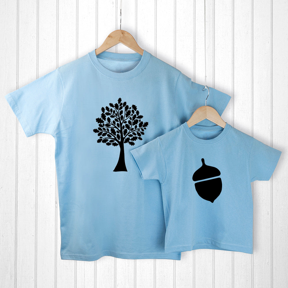 Personalised Daddy and Me Acorn Blue T-Shirts - treat-republic
