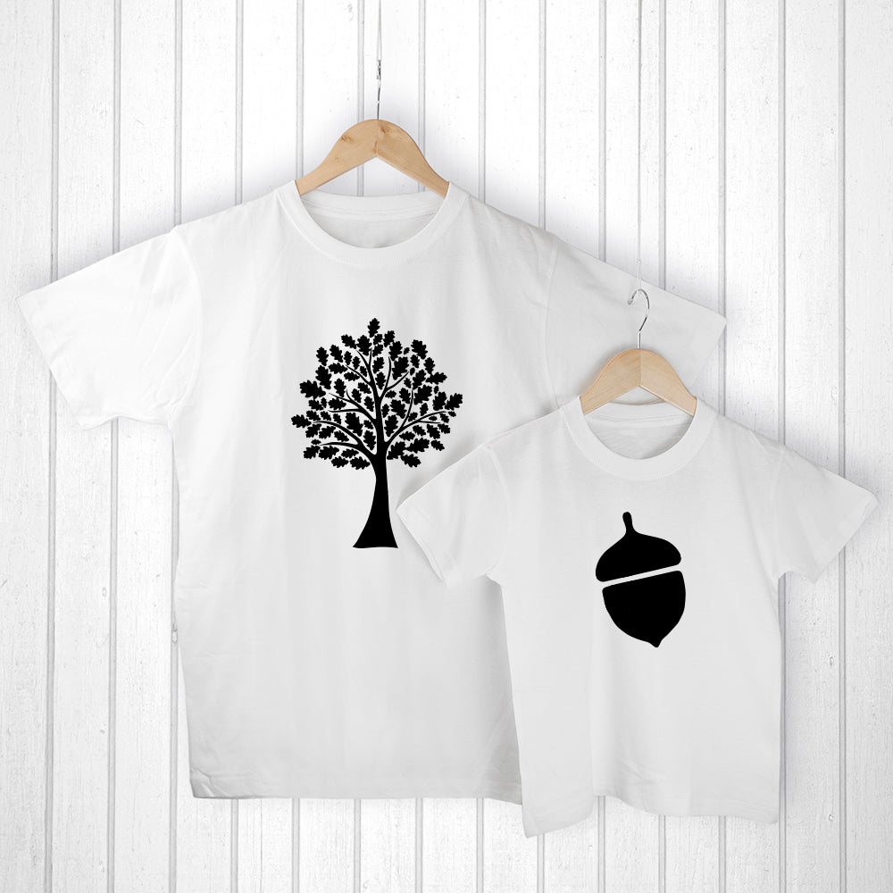 Personalised Daddy and Me Acorn White T-Shirts - treat-republic