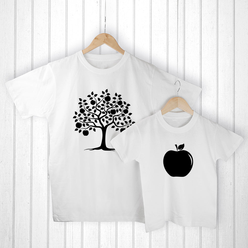 Personalised Daddy and Me Apple White T-Shirts - treat-republic