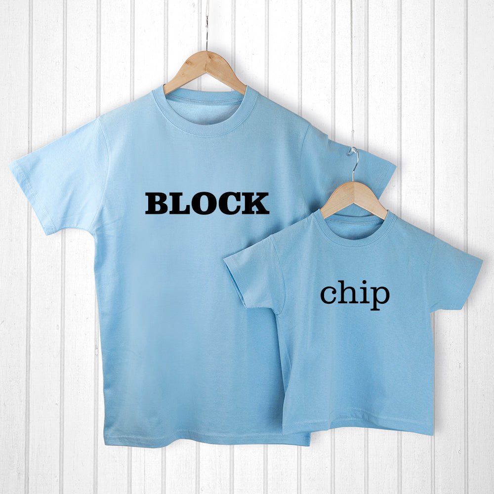 Personalised Daddy and Me Chip off the Old Block Blue T-Shirts - treat-republic