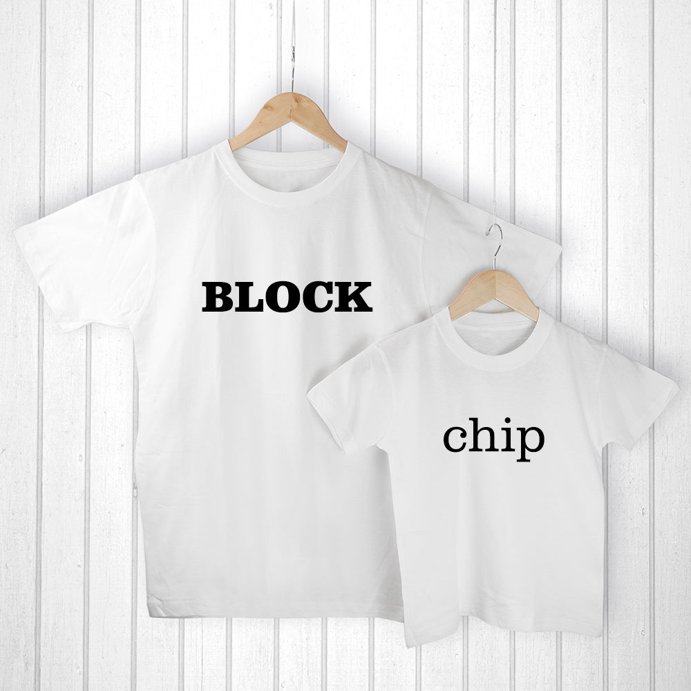 Personalised Daddy and Me Chip off the Old Block White T-Shirts - treat-republic