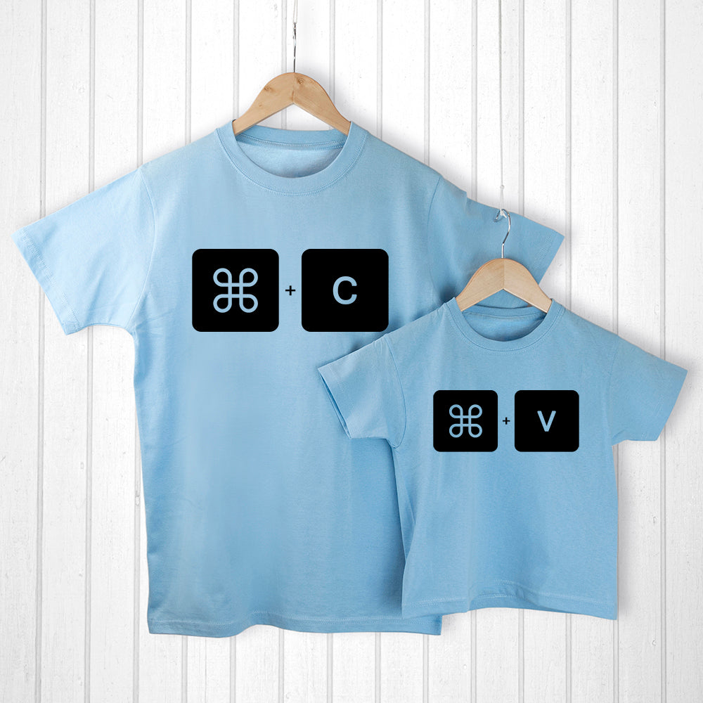 Personalised Daddy and Me Command+V Blue T-Shirts - treat-republic