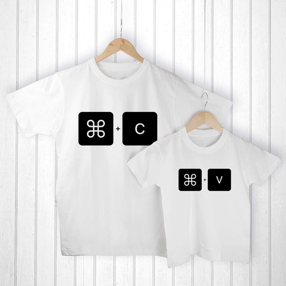 Personalised Daddy and Me Command+V White T-Shirts - treat-republic