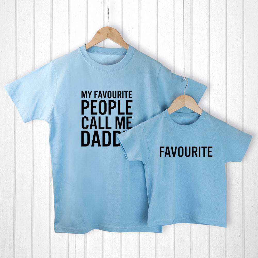 Personalised Daddy and Me Favourite People Blue T-Shirts