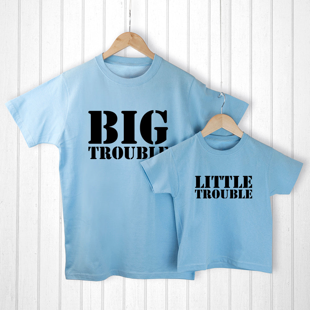 Personalised Daddy and Me Here Comes Trouble Blue T-Shirts