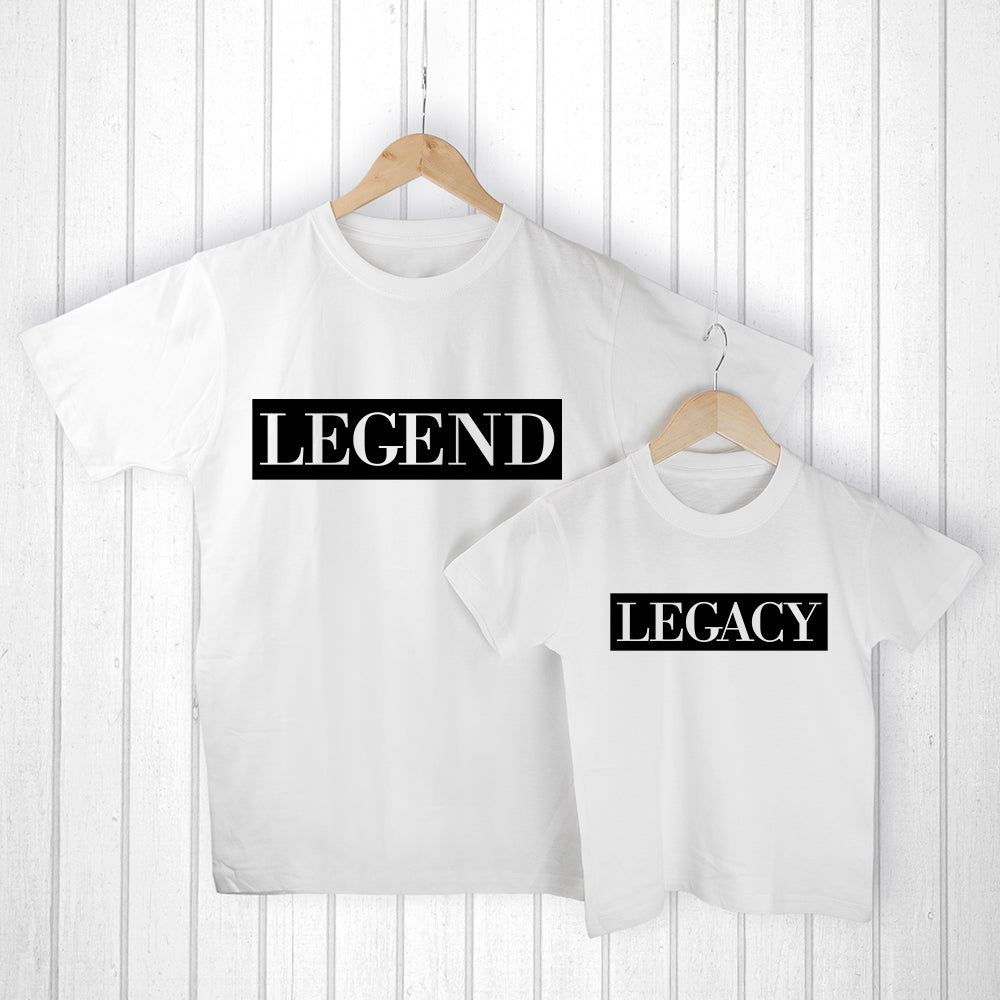 Personalised Daddy and Me Legendary White T-Shirts - treat-republic