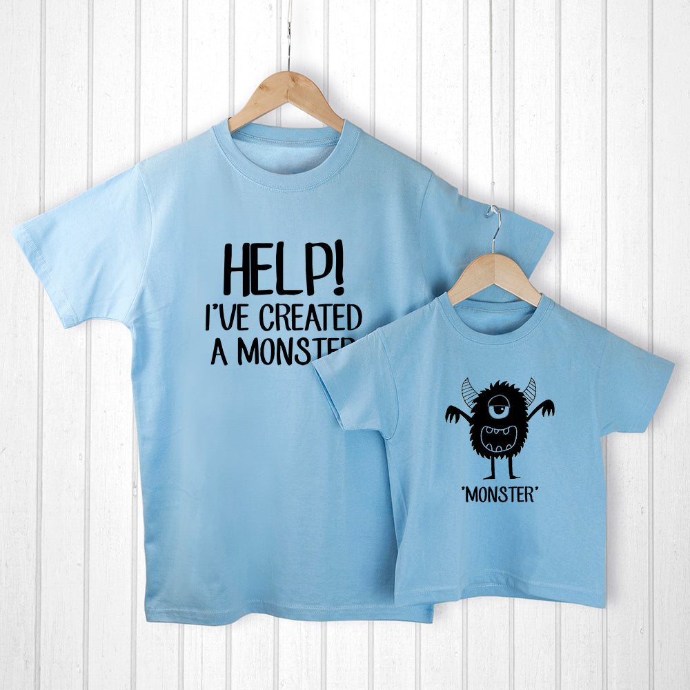 Personalised Daddy and Me Little Monster Blue T-Shirts - treat-republic