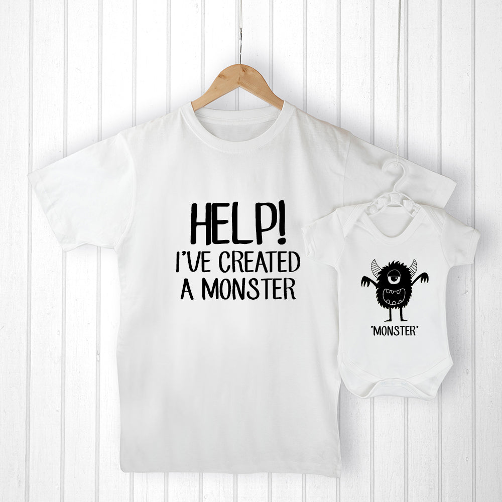 Personalised Daddy and Me Little Monster Set