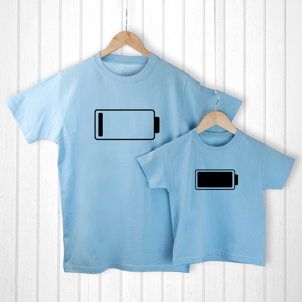 Personalised Daddy and Me Low Battery Blue T-Shirts - treat-republic