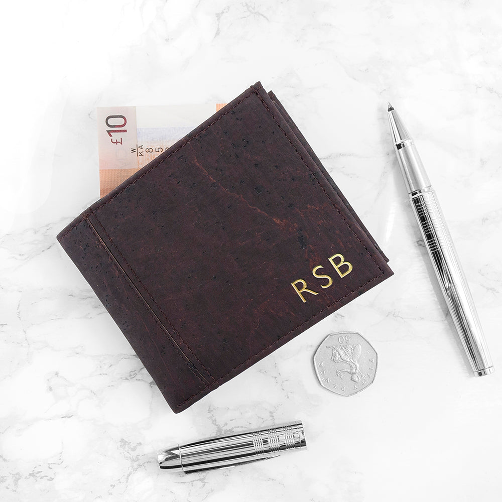 Personalised Dark Brown Vegan Leather Cork Wallet - treat-republic