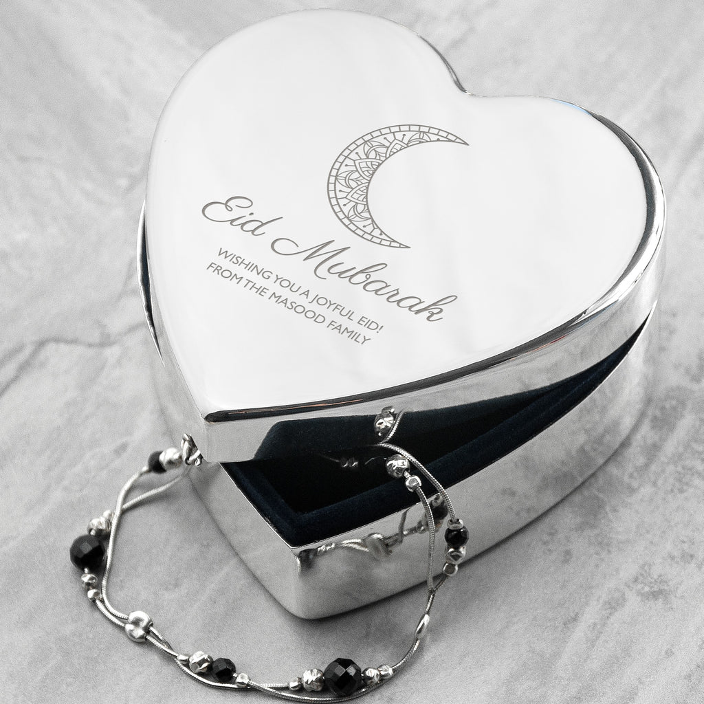 Personalised Eid Mubarak Heart Trinket Box - treat-republic