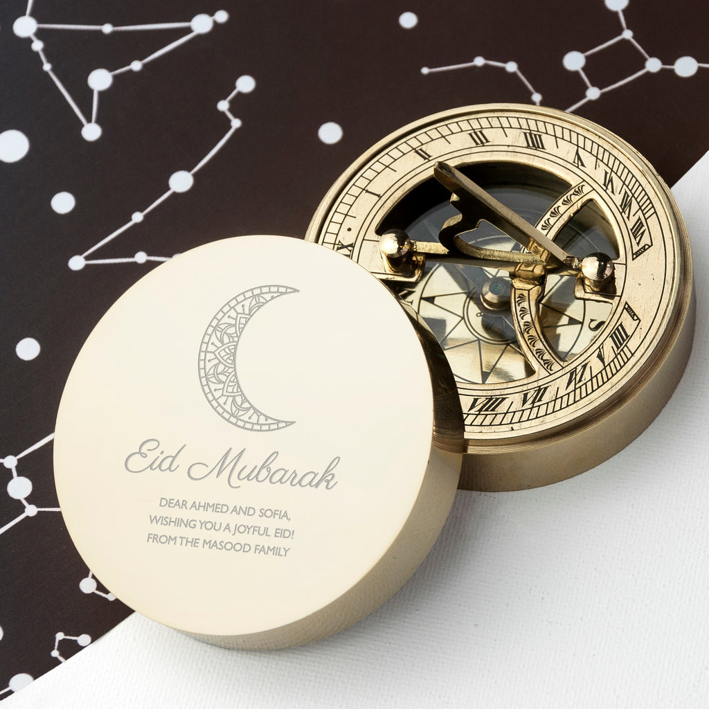 Personalised Eid Mubarak Sundial Compass - treat-republic