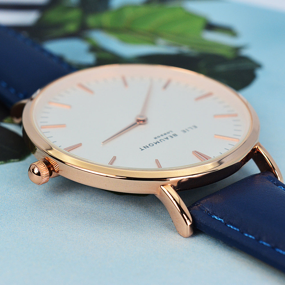 Elie Beaumont Ladies Personalised Leather Watch in Navy - treat-republic