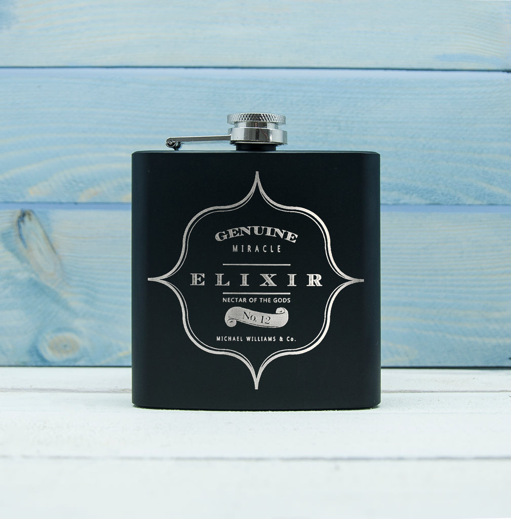 Personalised Elixir Vintage Hip Flask - treat-republic