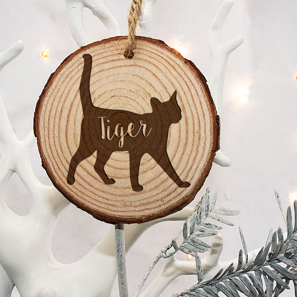 Personalised Engraved Cat Silhouette Christmas Tree Decoration - treat-republic