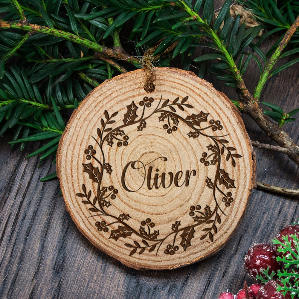 Personalised Engraved Holly Wreath Christmas Tree Decoration - treat-republic