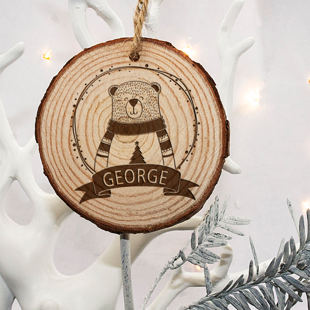 Personalised Engraved Polar Bear Christmas Tree Decoration - treat-republic