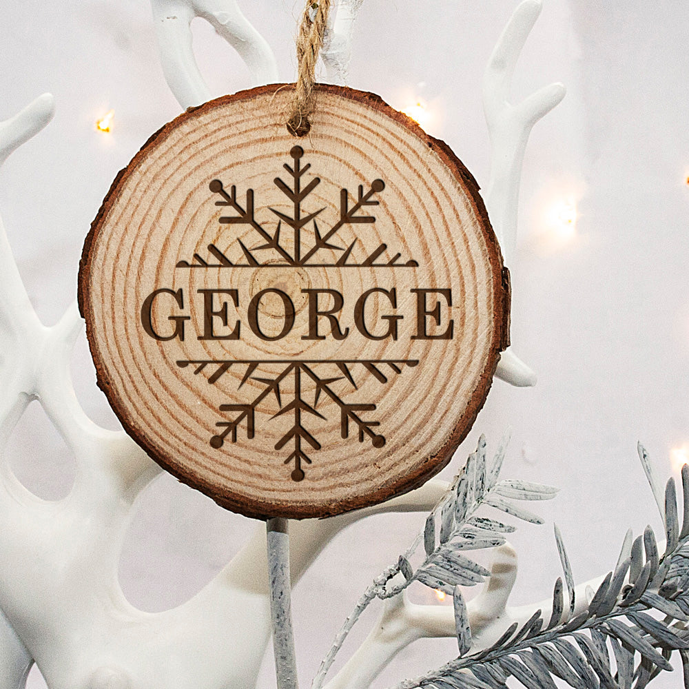 Personalised Engraved Snow Flake Christmas Tree Decoration - treat-republic
