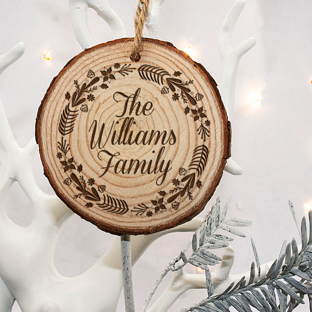 Personalised Engraved Wreath Family Christmas Tree Decoration - treat-republic