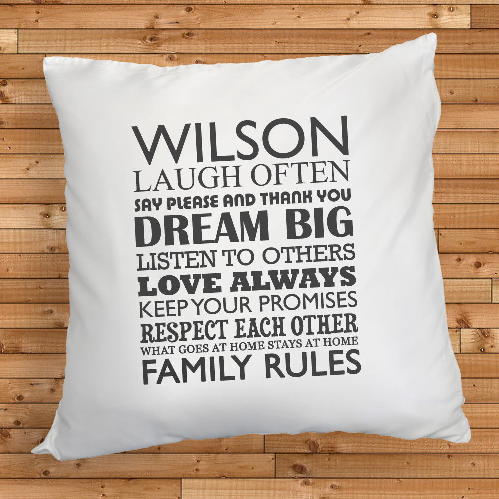 Personalised Family Rules Cushion Cover - treat-republic