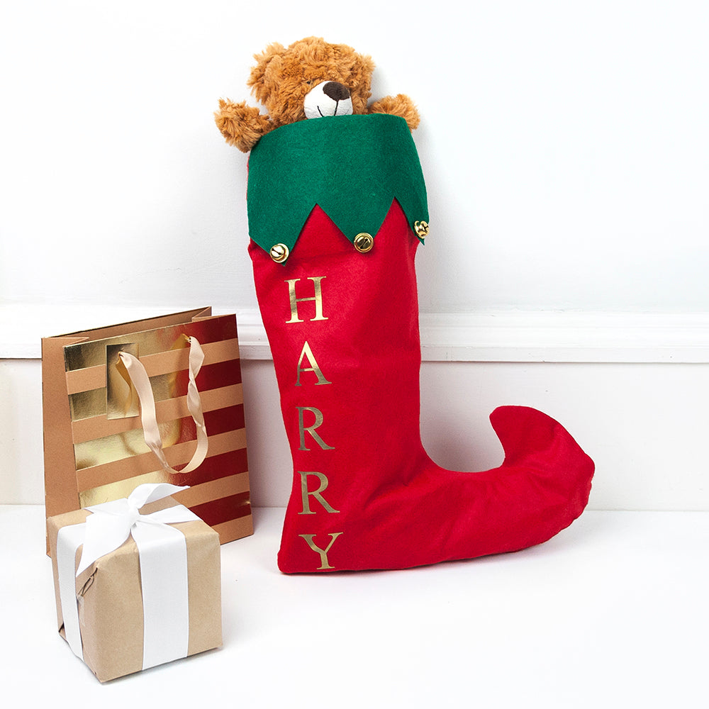 Personalised Festive Elf Stocking with Jingle Bells