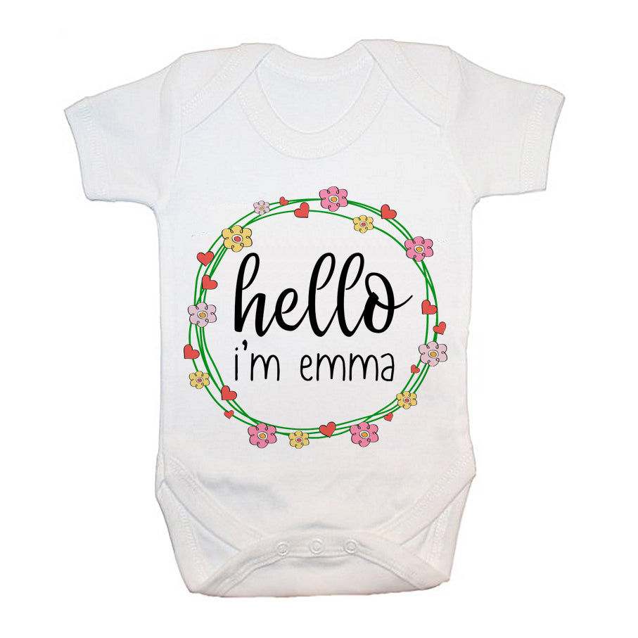 Personalised Floral Frame Baby Grow