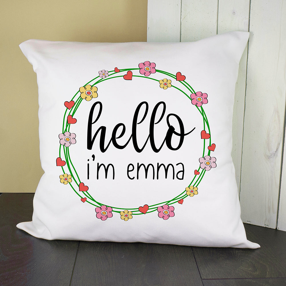 Personalised Floral Frame Cushion Cover - treat-republic