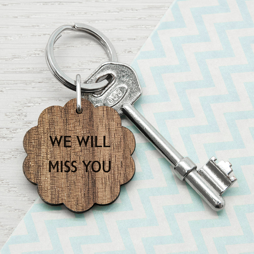 Personalised Flower Shape Walnut Keyring