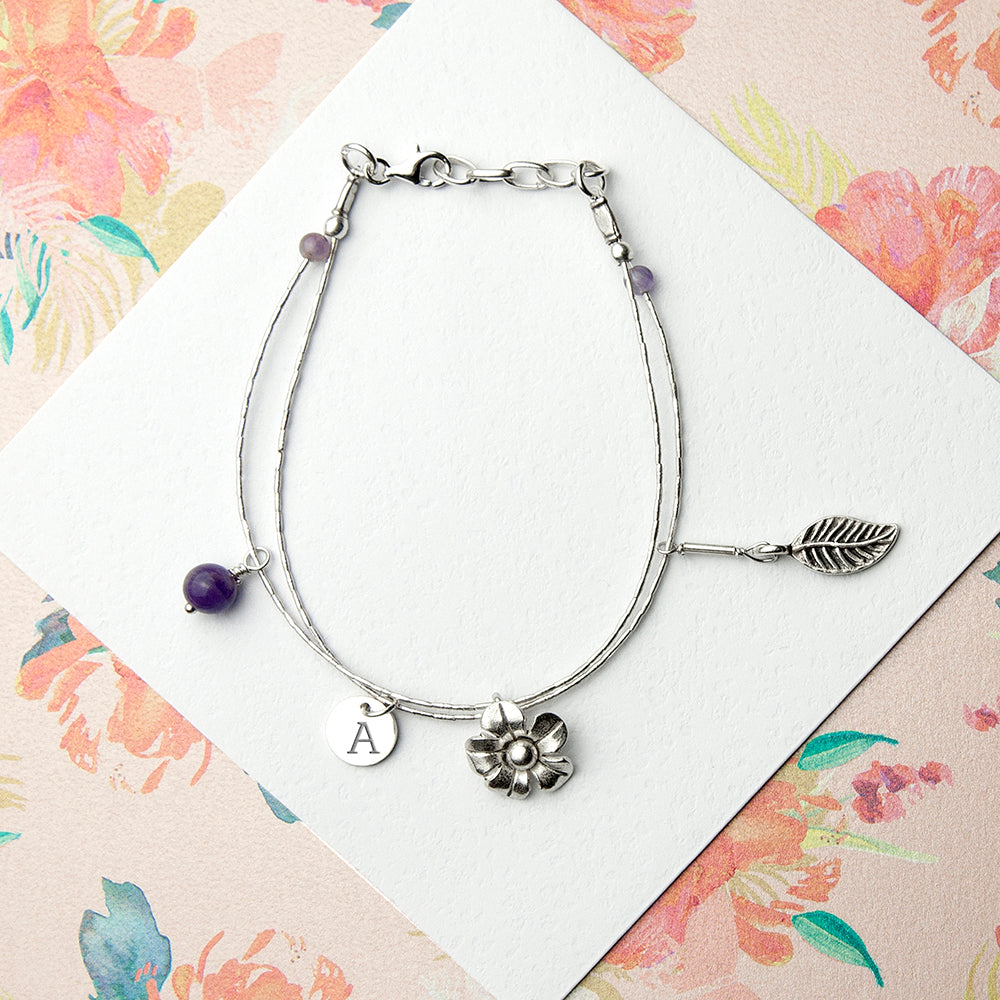 Personalised Forget Me Not Friendship Braclet With Amethyst Stones - treat-republic