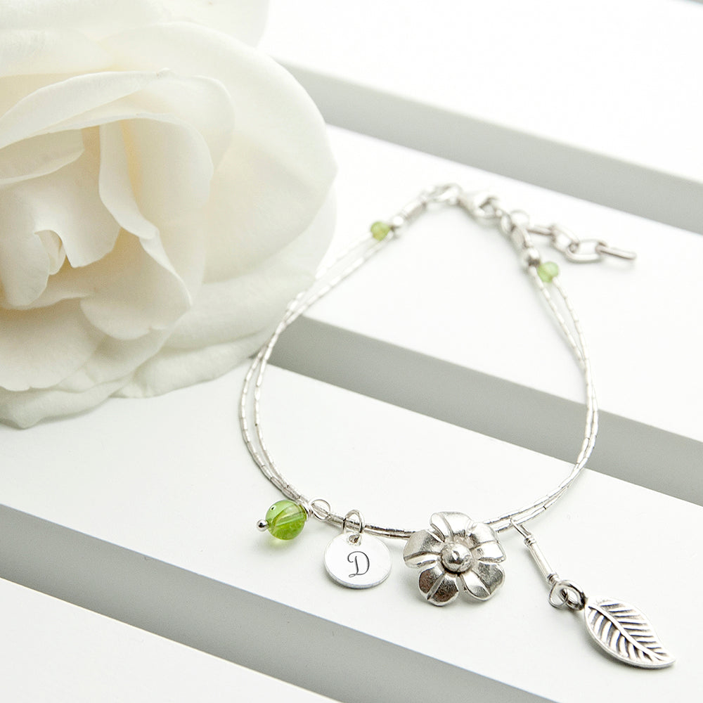 Personalised Forget Me Not Friendship Braclet With Peridot Stones - treat-republic