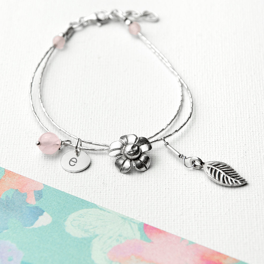 Personalised Forget Me Not Friendship Braclet With Rose Quartz Stones - treat-republic
