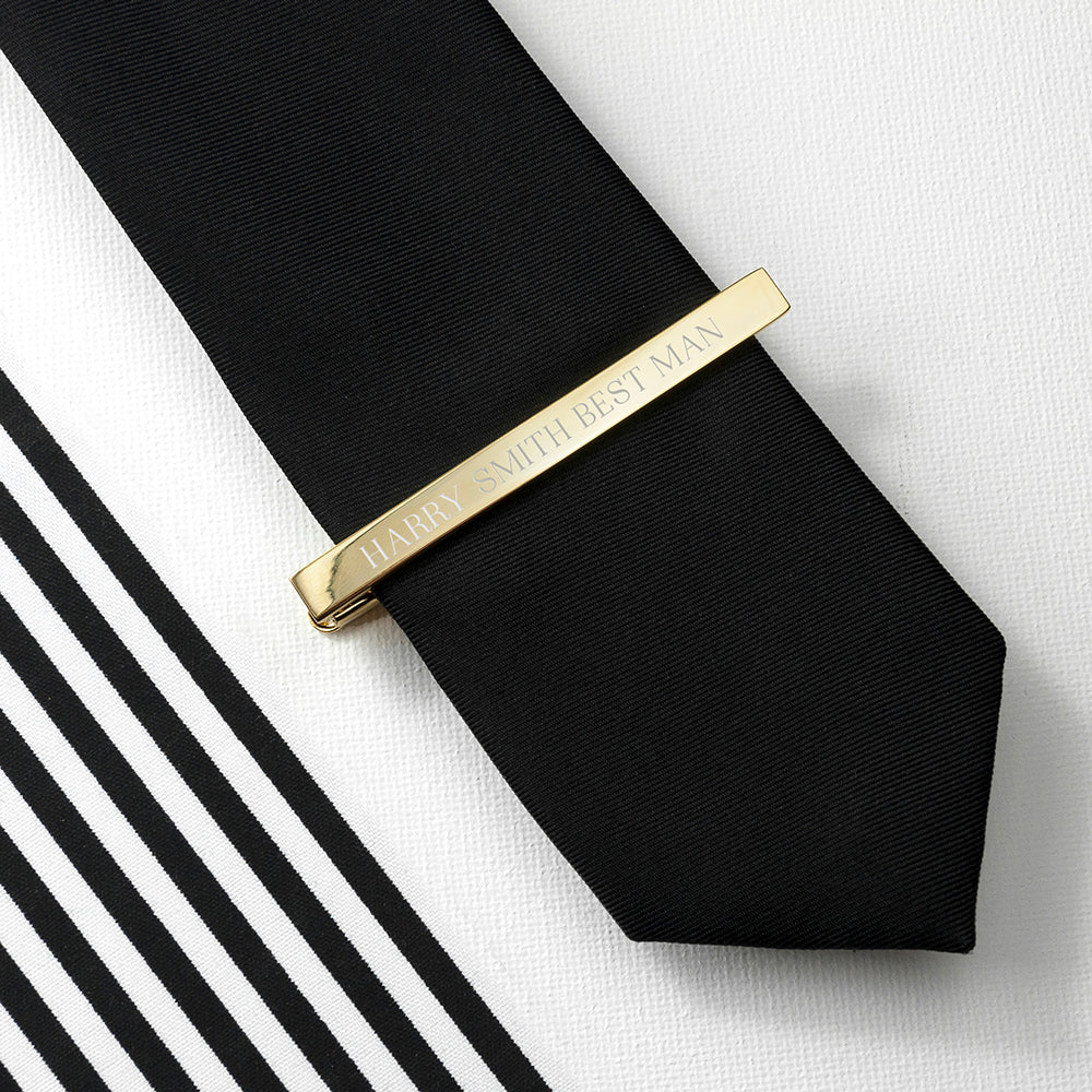 Personalised Gold Plated Tie Clip - treat-republic