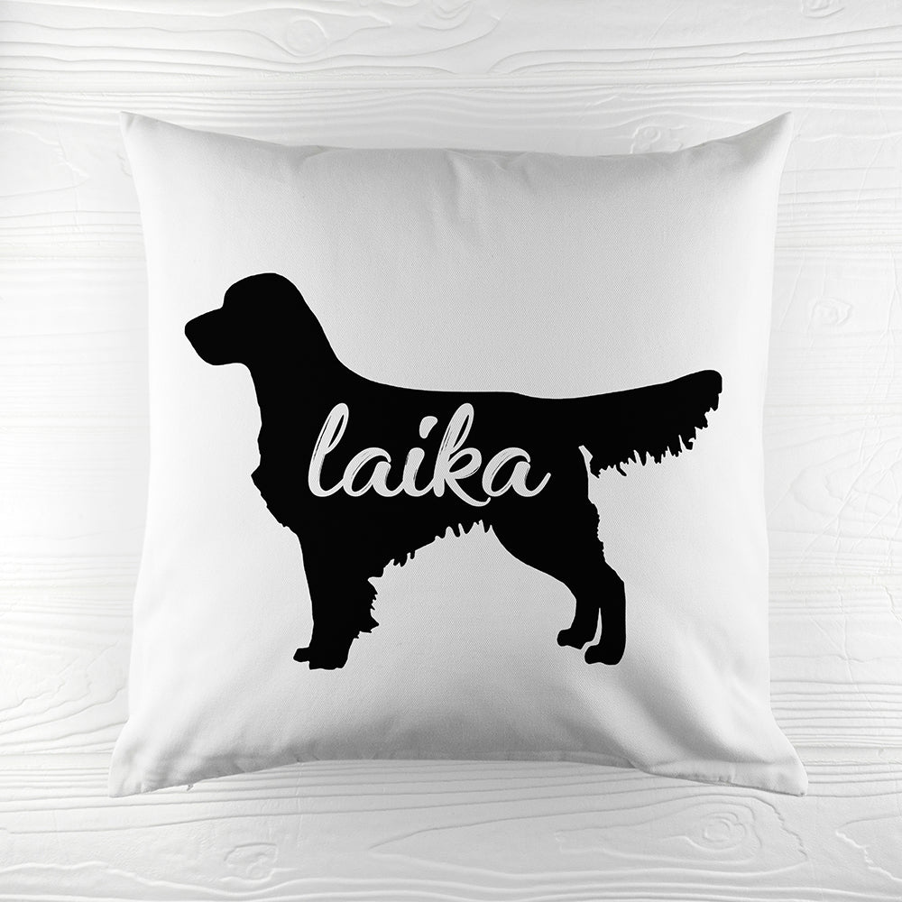Personalised Golden Retriever Silhouette Cushion Cover