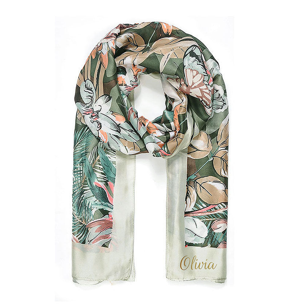 Personalised Green Botanical Print Scarf - treat-republic