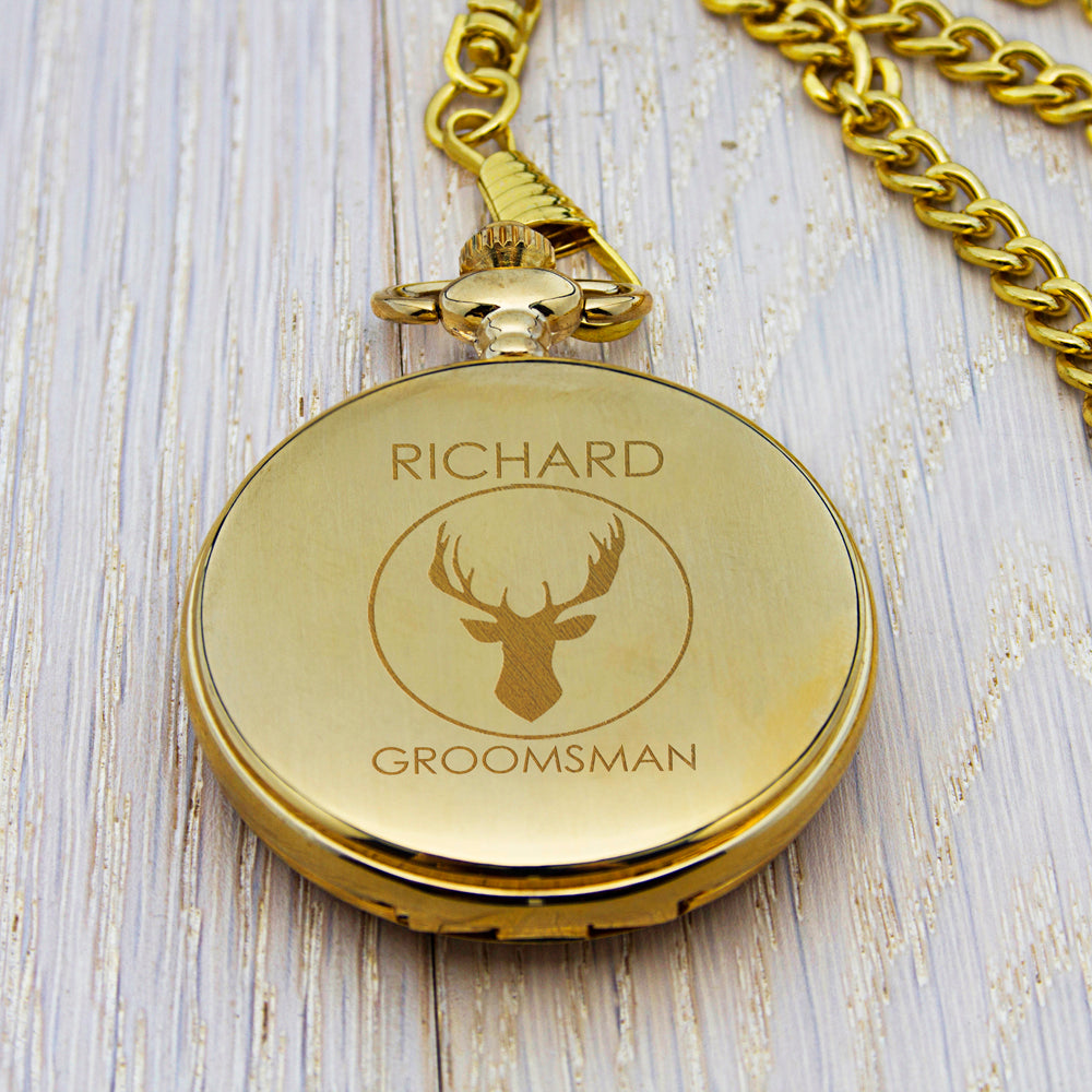 Personalised Groomsman Stag Pocket Watch