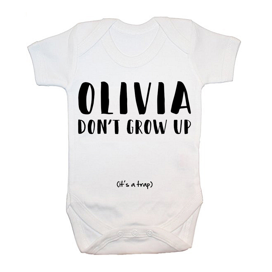 Personalised Growing Up Is A Trap Baby Grow - treat-republic