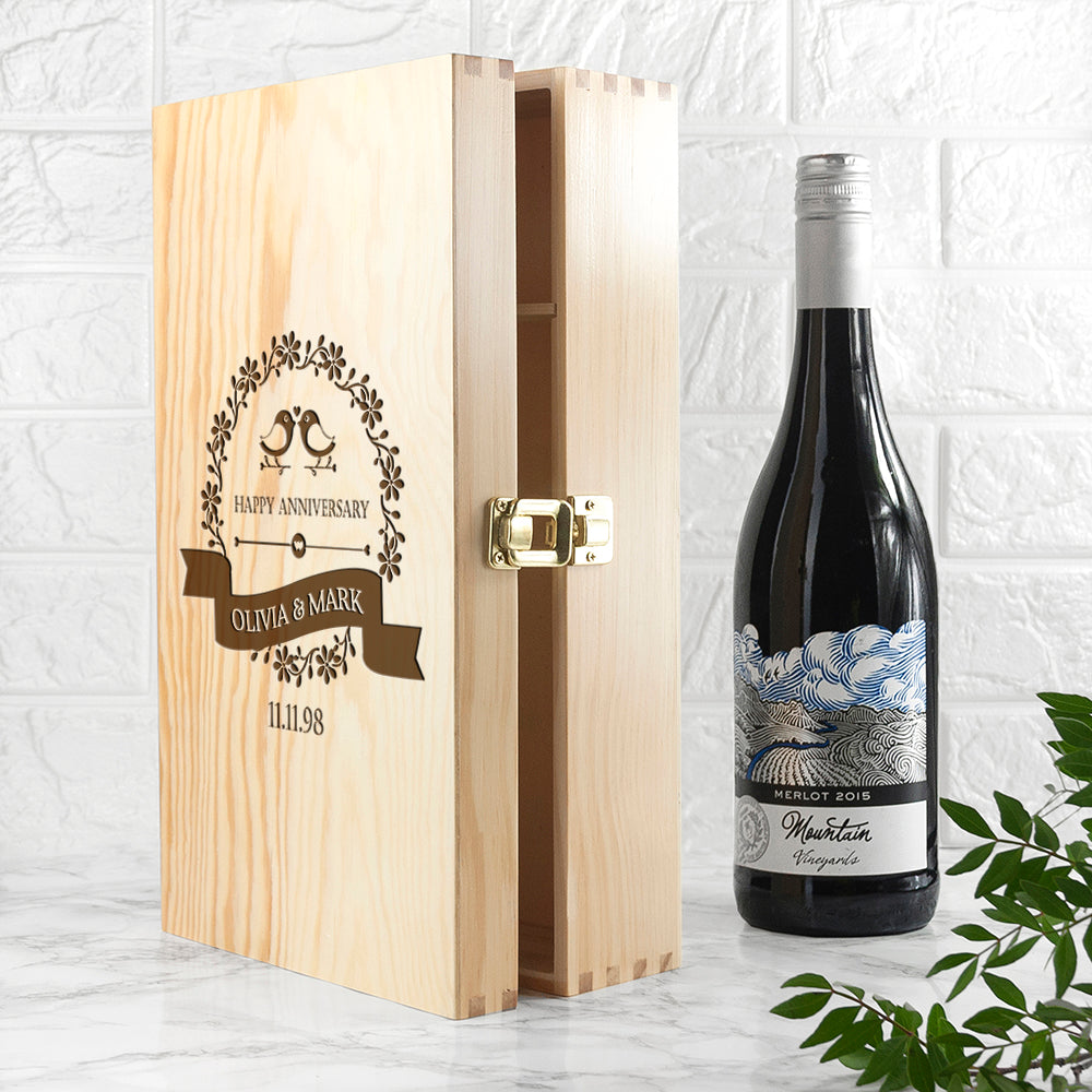 Personalised Happy Anniversary Wine Box - treat-republic
