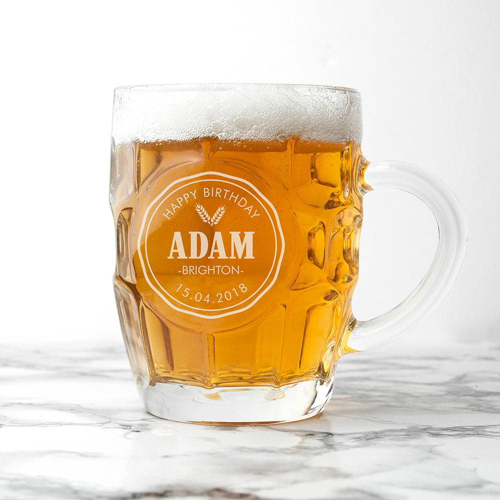 Personalised Happy Birthday Dimpled Beer Glass - treat-republic