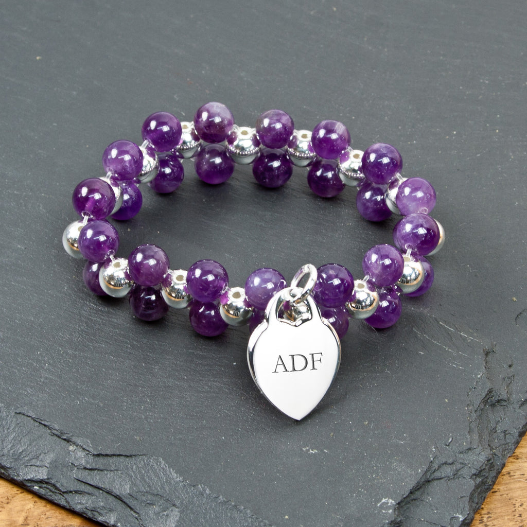 Personalised Amethyst Harmony Bracelet - treat-republic