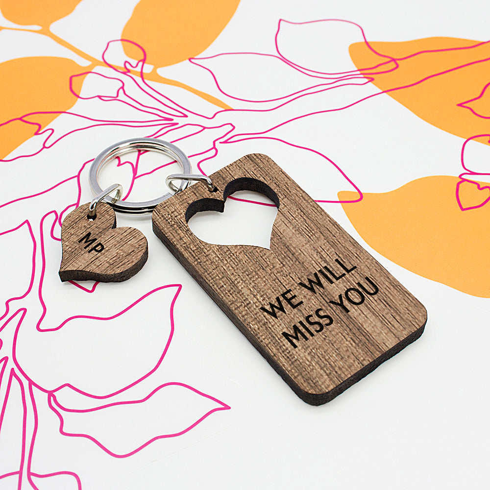Personalised Heart Shape Walnut Keyring - treat-republic