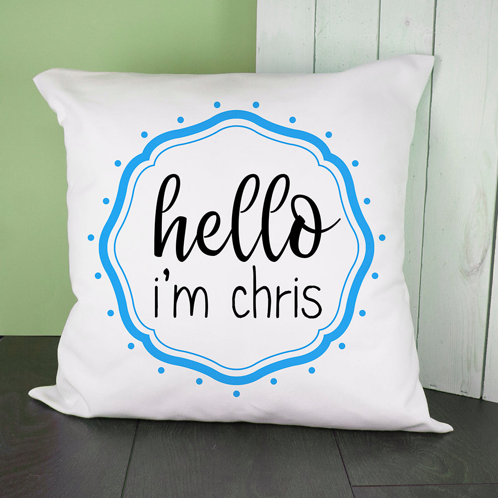 Personalised Hello Baby In Blue Frame Cushion Cover - treat-republic