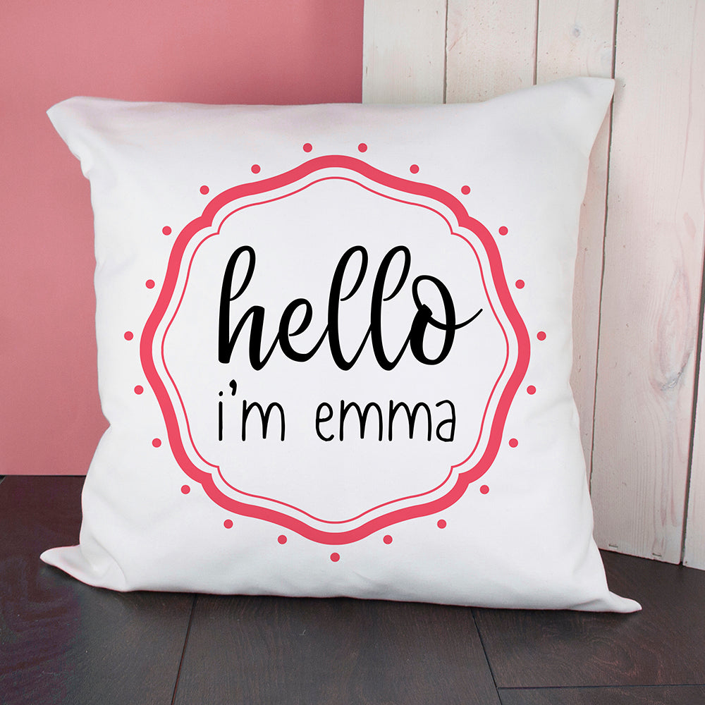 Personalised Hello Baby In Pink Frame Cushion Cover - treat-republic