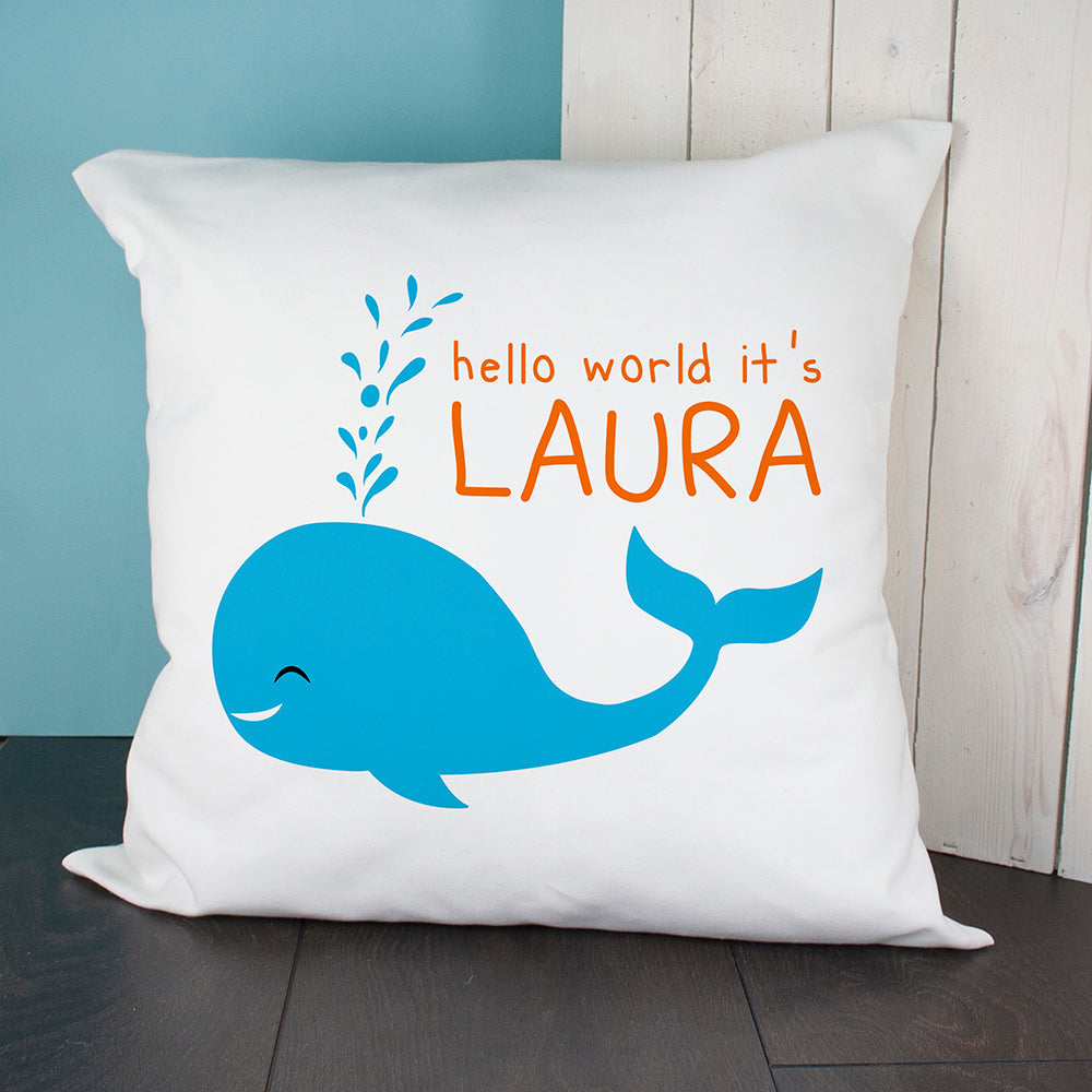 Personalised Hello Whale Cushion Cover - treat-republic