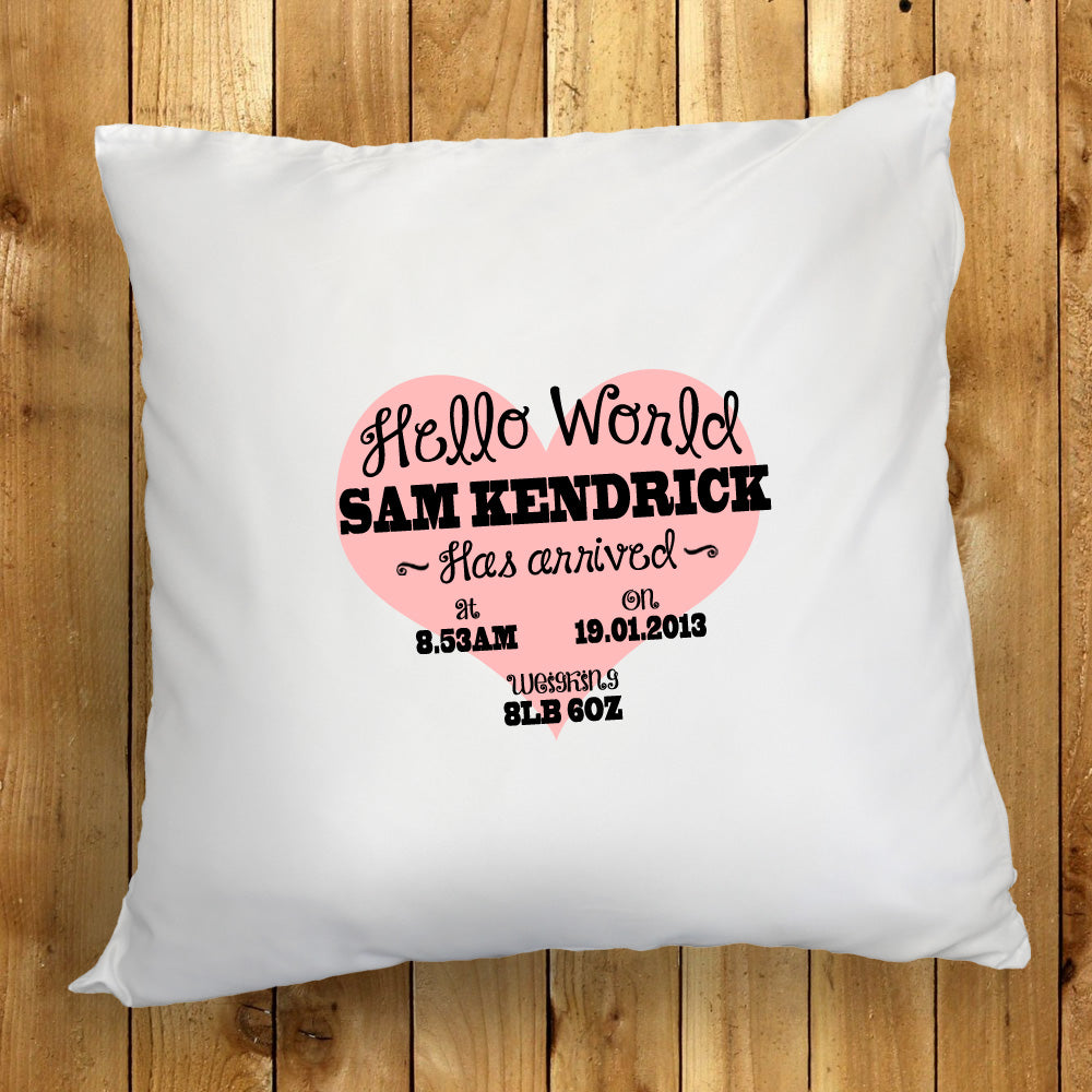 Personalised Hello World New Born Cushion Cover - treat-republic