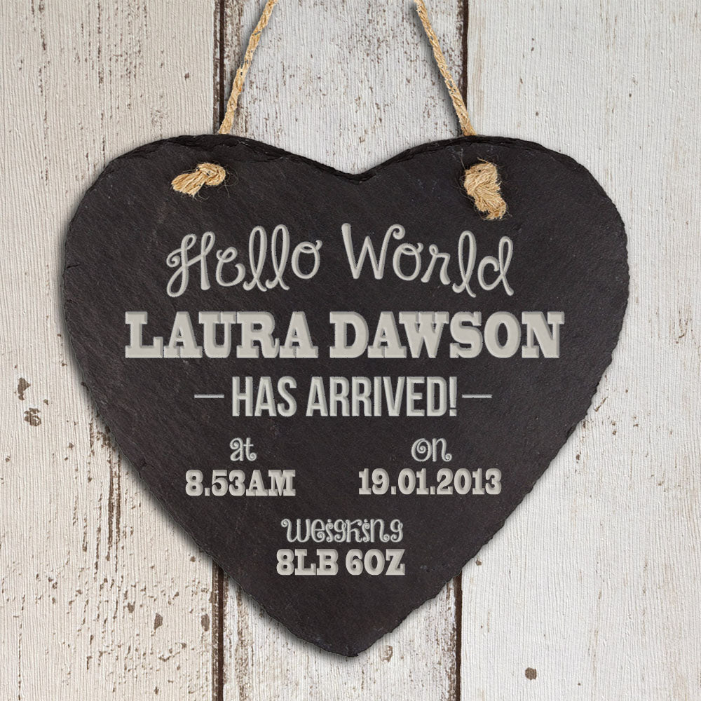 Personalised Hello World Slate Heart Keepsake - treat-republic