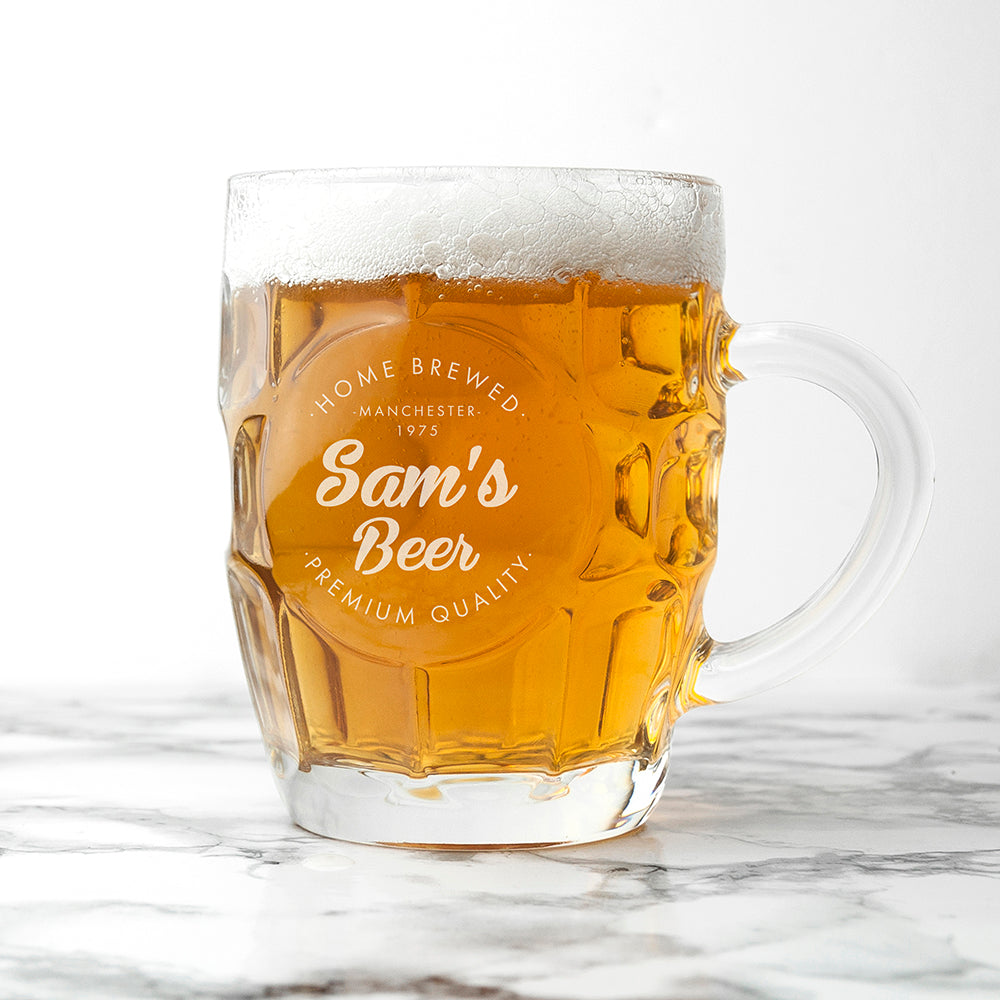 Personalised Home Brewed Dimpled Beer Glass - treat-republic