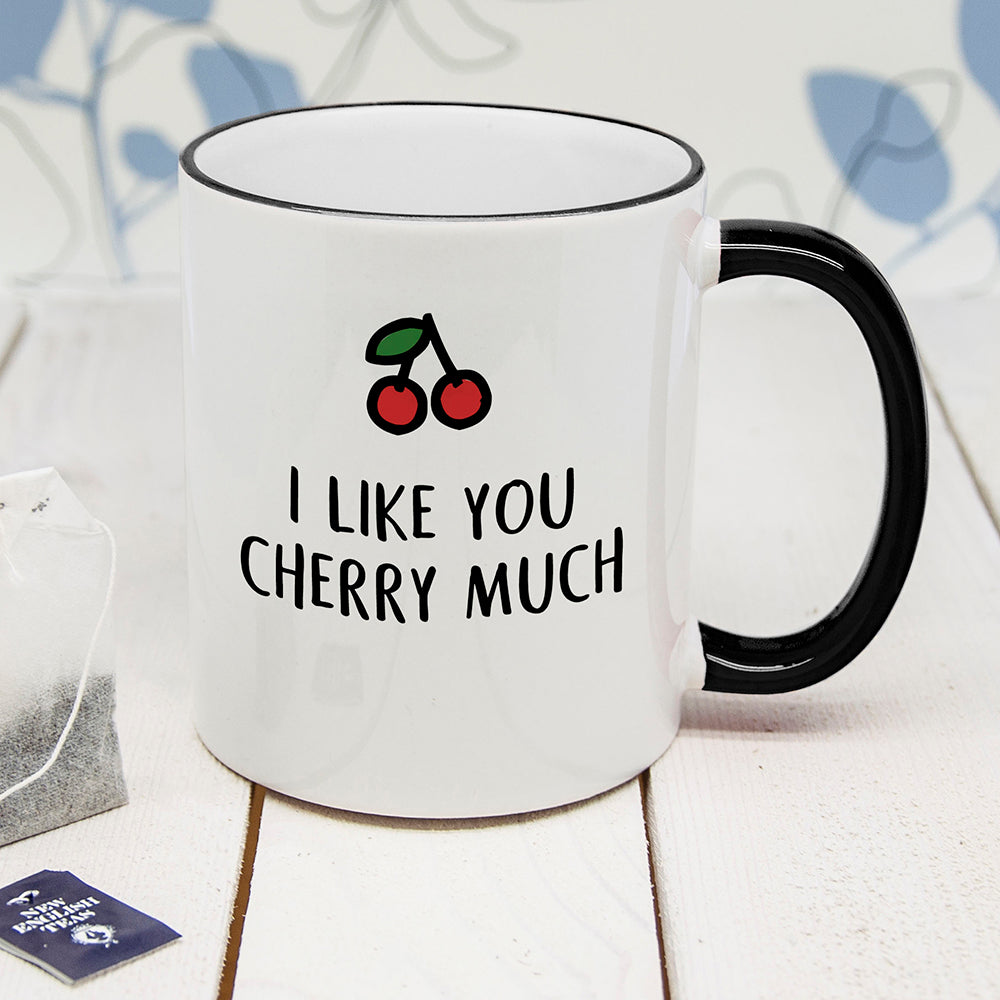 Personalised I Like You Cherry Much Black Rimmed Mug - treat-republic