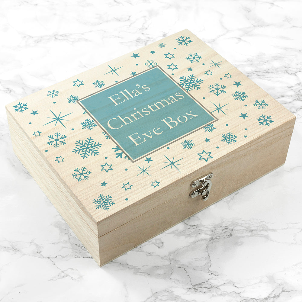 Personalised Ice Blue Snowflake Christmas Eve Box - treat-republic