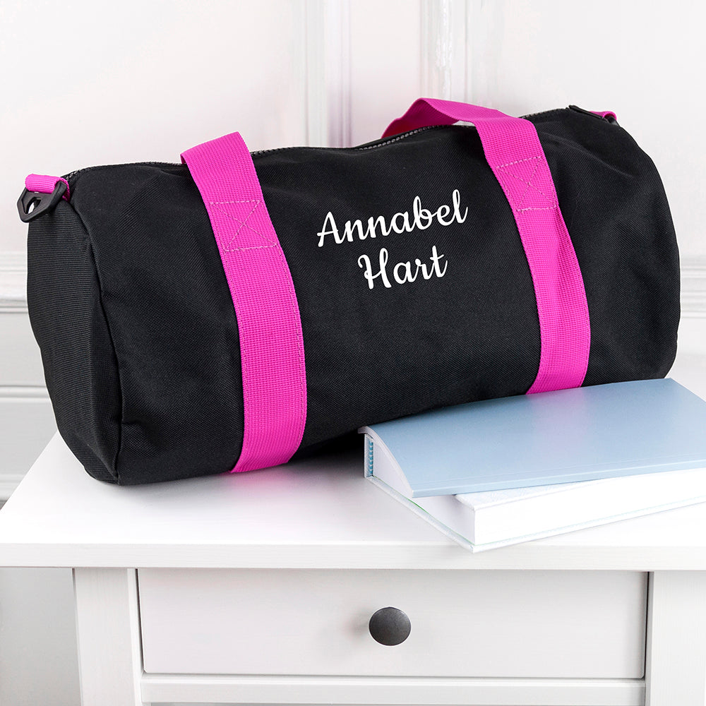 Personalised Kids Black & Fuschia Gym Kit Bag - treat-republic