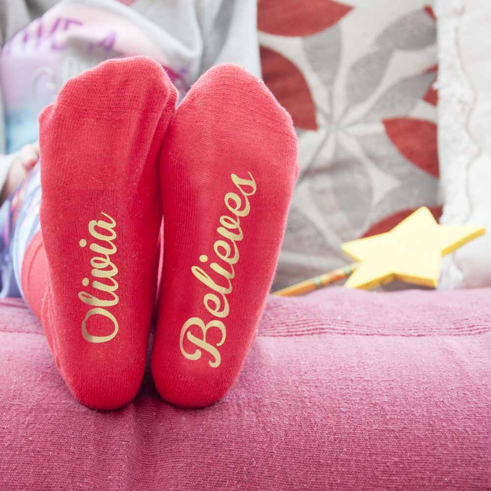 Personalised Kids Crimson & Gold Christmas Day Socks - treat-republic